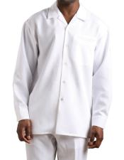 JSM-3339 Mens 2 piece long sleeve Textured Solid White
