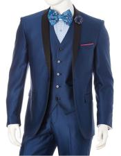 GD1667 Mens Lorenzo Bruno 1 Button Shawl Lapel Blue