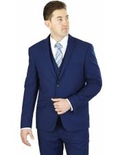 GD1664 Mens Lorenzo Bruno 3 Piece Cobalt Blue Notch
