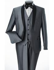 GD1663 Mens Lorenzo Bruno Slim Fit Shiny Gray Shawl