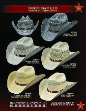 PN78 Cowboy Western Rodeo Straw Hat By Authentic Los
