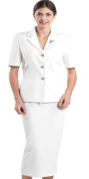 KA8321 white suit for women Lynda Couture Promotional Ladies