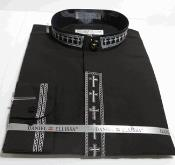 AC-739 no collar mandarin Banded Dress Shirt with Cross