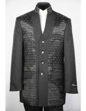 GD1583 Mens Mandarin Collar 4 Button 2piece Diamond Pattern