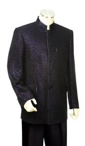 JA65 Mens Mandarin Collar Astral Shape Zoot Suit Black