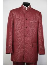 GD1582 Mens Mandarin Collar Burgundy 5 Button 2piece Floral
