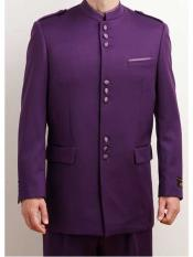 JSM-243 Mens Single Breasted Mandarin Collar 2 Piece Purple