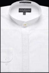 GA328 Embroidered Banded Collar dress shirts without collars no