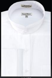 UZ284 French Cuff Banded Collar dress shirts no collar