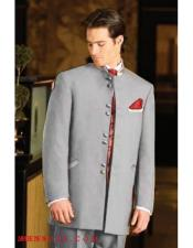 WI09 Mens Mandarin Light Grey Tuxedo Single Breasted Suit