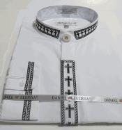 AC-740 no collar mandarin Banded Dress Shirt with Cross