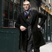 BA0322 Liquid Jet Black Wool Fabric Cashmere overcoats outerwear
