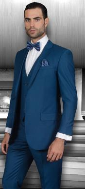 Ac-945 Mens Teal Suit Slim narrow Style Fit Suits