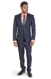 SM407 Navy Plaid 2 Button Style Notch Lapel Suit