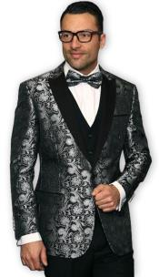 CH2195 Mens Black Unique Shiny Fashion Prom ~ Shiny