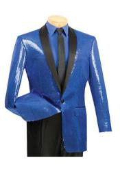 1 Button Style Blue Sequin