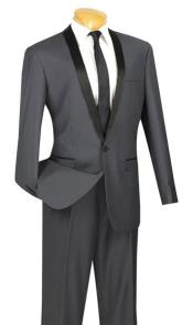 RM1710 Two Toned Lapel Sleek 1-Button Shawl Plain Front