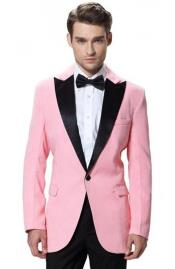 JSM-6849 Mens Single Breasted Black Lapel Tuxedos Pink Jacket