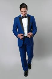 RM1471 1 Button Style royal blue pastel color Tuxedo