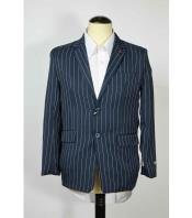 SM616 2 Button Style Single Breasted Pinstripe Notch Lapel