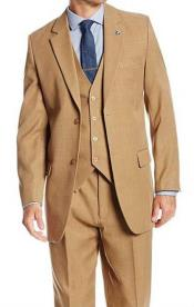 JSM-282 Mens 2 Button Solid Tan 3 Piece Suit
