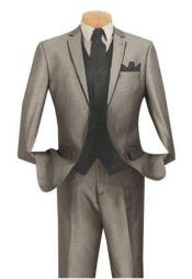 KL01Z Grey ~ Gray Suit With Trim Vested 3