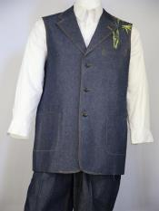 mens Muse Embroidered Navy Blue Vest