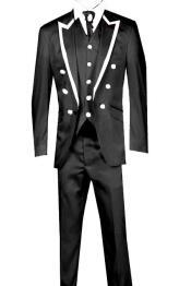 KA3697 3 Piece Jacket+Trouser+Waistcoat Trimming Tailcoat Tuxedos Suit/Jacket-Black/White