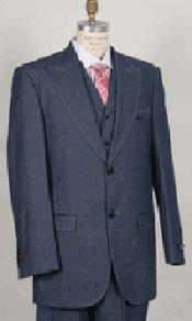 PN-O54 Blue Wide Lapel 3 Piece Jean Fashion Suit