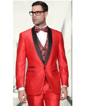 SS-64 3 Piece Sharkskin Suit - Fashion Vest Red