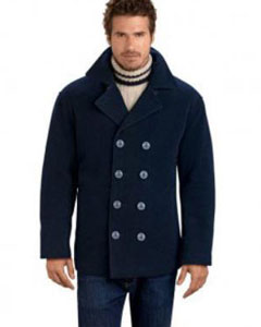 RM1340 Four Button Double Breasted Wool Fabric Pea Coat