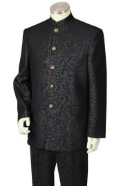 BLK823 5 button Paisley Design no collar mandarin /