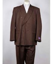 SM1009 Classic Fit Double Breasted Pinstripe 6 Button Peak