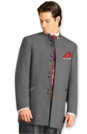 WI09 Mens Mandarin Tuxedo Single Breasted Medium Grey Suit