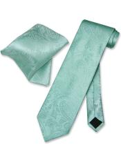 JSM-3987 Mens Trendy Paisley Pattern Aqua Green Neck Ties