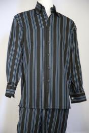 JA76 Mens Meridian Stripe Baby Blue Vest and Pant