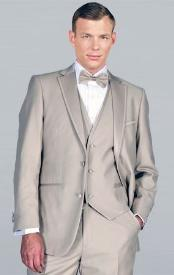SAZ32 Beige Framed Notch Lapel with Vest Microfiber Wedding