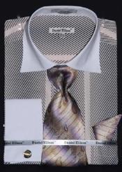 AC-432 Two Tone Stripes Design Dress Fashion Shirt/ Tie