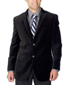 SS-475 Liquid Jet Black Corduroy Athletic Cut Suits Classic
