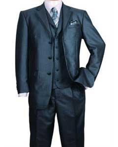 SS-36 Liquid Jet Black 3 Button Style Fashion Suit