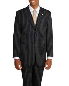 MK455 Stacy Adams Black/White Stripe 3-piece Suit