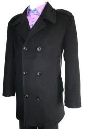 HT07 Peacoat Wool Fabric Blend Double Breasted 6 Button