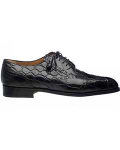 SM745 Ferrini Liquid Jet Black Wing Tip Italian Lace