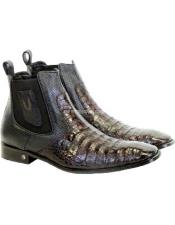 JSM-1752 Mens Vestigium Genuine Caiman Belly Chelsea Black Cherry