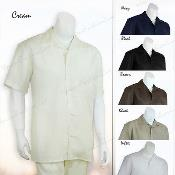 NK7219 2 Pieces trendy casual Solid Color Linen Shirt