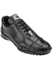 JSM-4370 Mens Belvedere Paulo Black Genuine Ostrich / Soft