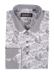 JSM-3999 Mens Floral Pattern Classic Fit Cotton Blend Standard