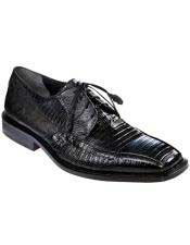 Mens Black Genuine Teju Lizard