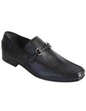 JSM-4981 Mens Slip On Loafer Black Genuine Full Deer