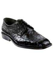 JSM-4984 Mens Black Genuine Ostrich Los Altos Oxfords Style